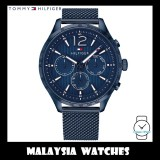 (100% Original) Tommy Hilfiger Men's 1791471 Gavin Multifunction Blue Dial Stainless Steel Mesh Watch