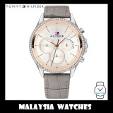 (100% Original) Tommy Hilfiger Women's 1781980 Ari Rose Gold-Tone & Grey Leather Strap Watch
