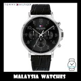 (100% Original) Tommy Hilfiger Men's 1710381 Daniel Multifunction Black Dial Black Leather Watch