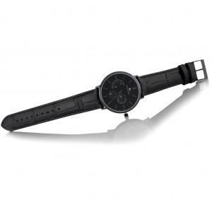 (100% Original) Tommy Hilfiger Men's 1710378 Dane Multi Dial Black Leather Watch (Full Black)