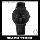 (100% Original) Tommy Hilfiger Men's 1710378 Dane Multi Dial Black Leather Watch (Full Black)