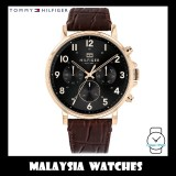 (100% Original) Tommy Hilfiger Men's 1710379 Daniel Multifunction Black Dial Brown Leather Watch