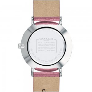 (100% ORIGINAL) Coach Ladies' 14503243 Perry Collection Silver Dial Pink Leather Strap Watch