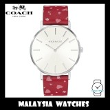 (100% ORIGINAL) Coach Ladies' 14503228 Perry Collection Silver Dial Patterned Red Leather Strap Watch