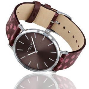 (100% ORIGINAL) Coach Ladies' 14503229 Perry Collection Dark Red Dial Floral Oxblood Leather Strap Watch