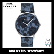 (100% ORIGINAL) Coach Ladies' 14503247 Perry Collection Blue Signature C Multicolored Dial Leather Strap Watch