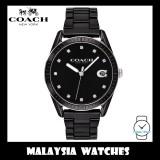 (100% ORIGINAL) Coach Ladies' 14503262 Preston Black Dial Black Ceramic Watch