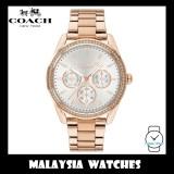 (100% ORIGINAL) Coach Ladies' 14503267 Preston Silver White Dial Rose Gold Stainless Steel Watch TWO (2) Years International Warranty