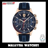 (100% Original) Scuderia Ferrari Men's 0830621 Pilota Chronometer Blue Silicone Watch TWO (2) Years International Warranty