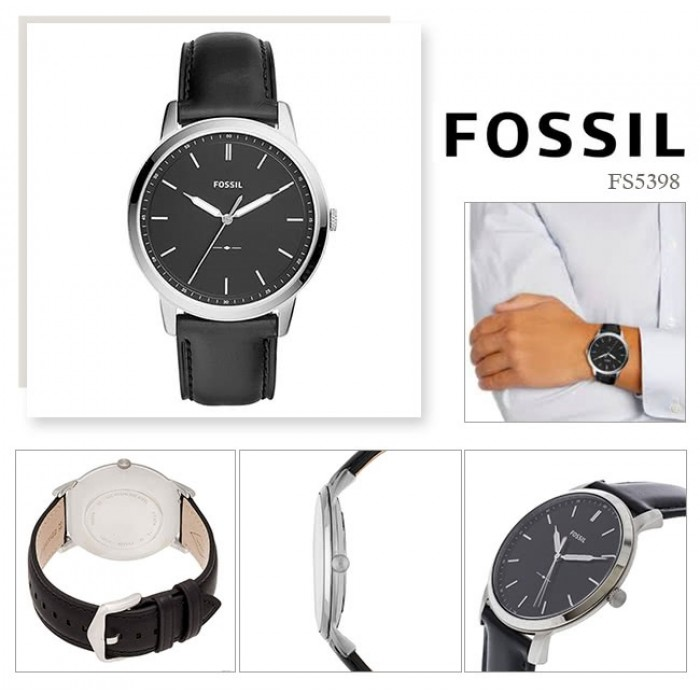 4f21eb21e (OFFICIAL WARRANTY) Fossil Men's FS5398 The Minimalist Slim Three-Hand  Leather Watch (Black)