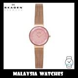 (100% Original) Skagen Ladies SKW2768 Leonora Slim Rose-Tone Steel Mesh Watch (Rose Gold)