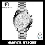 (100% Original) MICHAEL KORS Ladies MK6174 Bradshaw Chronograph Silver Dial Stainless Steel Watch