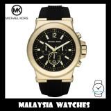 (100% Original) MICHAEL KORS Men's MK8325 Dylan Chronograph Gold Case Black Dial Rubber Strap Watch