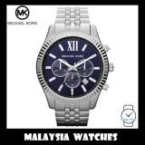 (100% Original) MICHAEL KORS Men's MK8280 Lexington Chronograph Blue Dial Silver Stainless Steel Watch