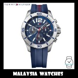 (100% Original) Tommy Hilfiger Men's 1791142 Nolan Multifunction Blue Dial Blue Silicone Watch