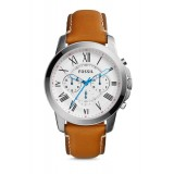 Fossil FS5060 Grant Chronograph Leather Watch (Tan)