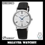 Seiko Premier Ladies SXB431P1 Quartz Analog Sapphire White Dial Black Leather Strap Watch