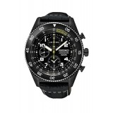 Seiko Men's Gents Chronograph Black Leather Strap Watch SNDG61P1 (Black)