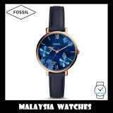 (OFFICIAL WARRANTY) Fossil Women's ES4673 Jacqueline Three-Hand Navy Leather Watch