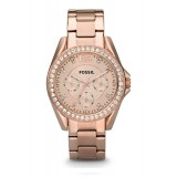 Fossil ES2811 Riley Multifunction Rose-Tone Stainless Steel Watch