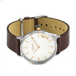 (100% ORIGINAL) Coach Ladies' 14503154 Perry Collection Silver Dial Burgundy Red Leather Strap Watch TWO (2) Years International Warranty
