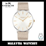 (100% ORIGINAL) Coach Ladies' 14503157 Perry Collection Silver Dial Champagne Gold Leather Strap Watch TWO (2) Years International Warranty