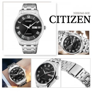 (100% Original) Citizen Gents NH8360-80E Mechanical Black Dial Stainless Steel Automatic Watch