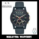 (100% Original) Armani Exchange Men's AX1335 Chronograph Dark Blue Silicone Strap Watch (2 Years International Warranty)