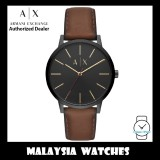 (100% Original) Armani Exchange Men's AX2706 Cayde Black Dial Brown Leather Watch (2 Years International Warranty)