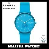 (100% Original) Skagen Unisex SKW6555 Aaren Kulør Neon Light Blue Silicone Watch (2 Years International Warranty)