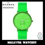 (100% Original) Skagen Unisex SKW6556 Aaren Kulør Neon Green Silicone Watch (2 Years International Warranty)