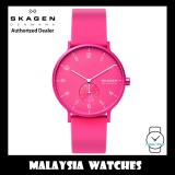(100% Original) Skagen Unisex SKW6559 Aaren Kulør Neon Pink Silicone Watch (2 Years International Warranty)