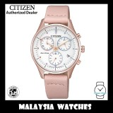 (100% Original) Citizen Ladies FB1443-08A Eco-Drive Chandler Chronograph Pink Leather Strap Watch