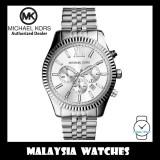 (100% Original) MICHAEL KORS Men's MK8405 Lexington Chronograph Silver Dial Silver Stainless Steel Watch