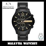 (100% Original) Armani Exchange Men's AX2164 Hampton Chronograph Black Dial Stainless Steel Watch (2 Years International Warranty)