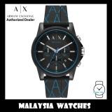 (100% Original) Armani Exchange Men's AX1342 Chronograph Black Silicone Strap Watch (2 Years International Warranty)