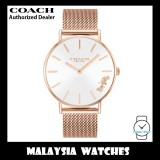 (100% ORIGINAL) Coach Ladies' 14503126 Perry Silver Dial Rose Gold Stainless Steel Mesh Watch TWO (2) Years International Warranty