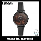 (OFFICIAL WARRANTY) Fossil Women's ES4632 Jacqueline Three-Hand Date Black Leather Watch