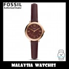 (OFFICIAL WARRANTY) Fossil Women's ES4634 Jacqueline Mini Three-Hand Fig Leather Watch