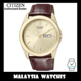 (100% Original) Citizen BF0582-01P Quartz Champagne Gold Dial Brown Leather Strap Gents Watch