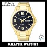 (100% Original) Citizen Gents BF2003-50E Quartz Black Dial Gold Tone Stainless Steel Bracelet Watch
