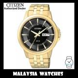 (100% Original) Citizen Gents BF2013-56E Quartz Black Dial Gold Tone Stainless Steel Bracelet Watch