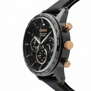 Seiko Gents SSB361P1 Sport Chronograph 100m Black Dial Black Leather Strap Watch