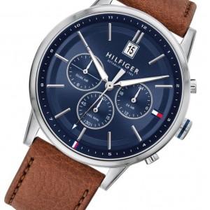 (100% Original) Tommy Hilfiger Kyle Men's 1791629 Brown Leather Strap Watch (2 Years International Warranty)