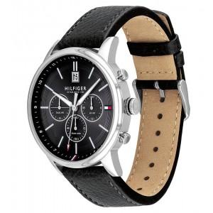 (100% Original) Tommy Hilfiger Kyle Men's 1791630 Black Leather Strap Watch (2 Years International Warranty)