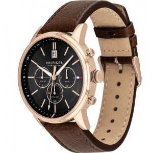 (100% Original) Tommy Hilfiger Kyle Men's 1791631 Brown Leather Strap Watch (2 Years International Warranty)