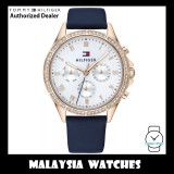 (100% Original) Tommy Hilfiger Ari Ladies' 1782140 Navy Blue Leather Strap Watch (2 Years International Warranty)