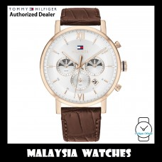 (100% Original) Tommy Hilfiger Evan Men's 1710394 Brown Leather Strap Watch (2 Years International Warranty)