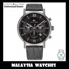 (100% Original) Tommy Hilfiger Evan Men's 1710395 Black Leather Strap Watch (2 Years International Warranty)