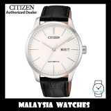 (100% Original) Citizen Gents NH8350-08B Mechanical White Dial Black Leather Automatic Watch